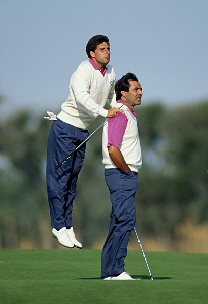 One of those epic Ryder Cup moments in 1991 at Kiawah Island with his trusted partner, Jose Maria Olazabal.