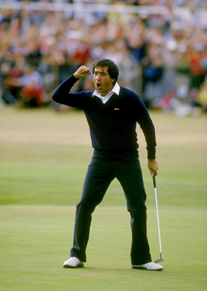 Seve Ballesteros  on the 18th green at St. Andrews in 1984.