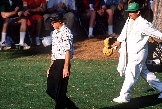 Good walk spoiled. A dejected Greg Norman walks the fairway on Sunday at the 1996 Masters.