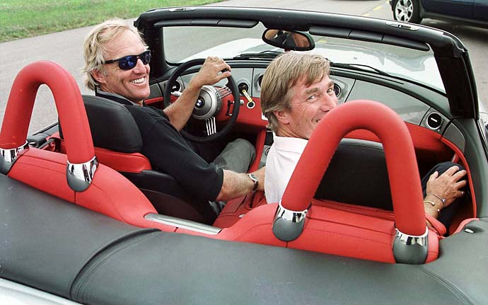 Greg Norman and the Prince of Bavaria test the new BMW Z8 at the high security BMW test track after the first round of the BMW International Open in Munich, Germany, in August 2000.