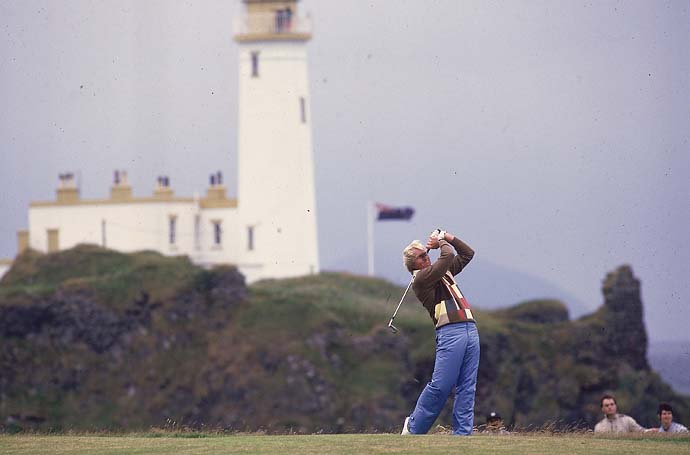 A dramatic shot of Greg Norman at the 1986 British Open at Turnberry.