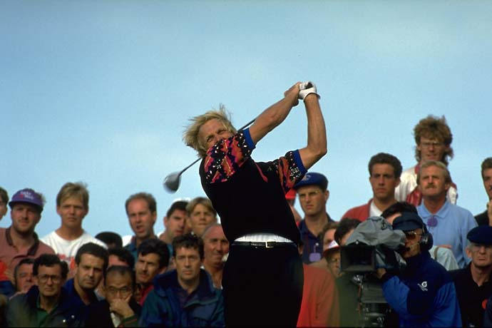 Greg Norman drives on Sunday at Royal St. Georges on his way to his second claret jug at the 1993 British Open.                                                                                            MANDATORY CREDIT: Jacqueline Duvoisin/Sports Illustrated
