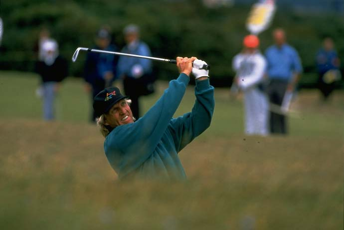 Greg Norman at the 1995 British Open at the Old Course in St. Andrews.