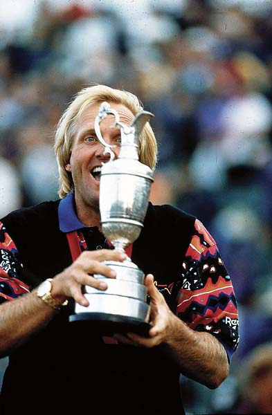 Greg Norman victorious with the claret jug after winning the 1993 British Open at Royal St. Georges.