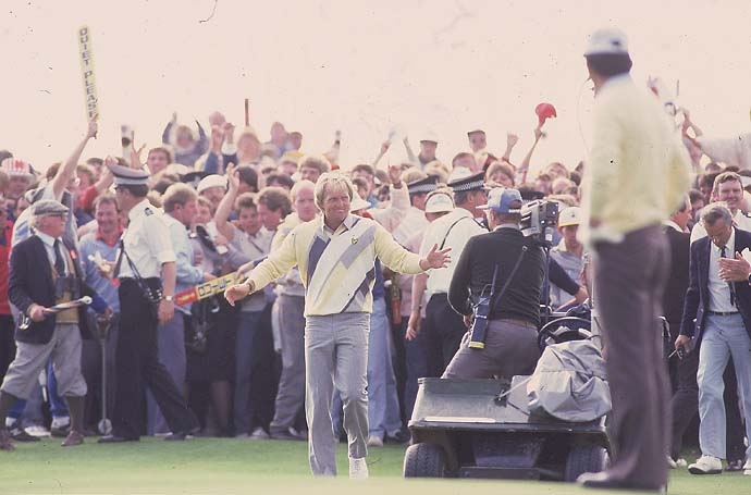 Greg Norman wins his first major championship at the 1986 British Open at Turnberry.