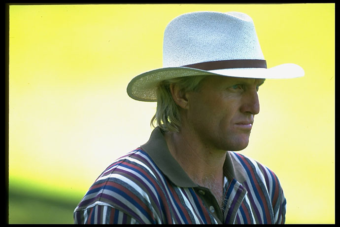 Portrait of Greg Norman at the Olympic Club at the 1994 Tour Championship.
