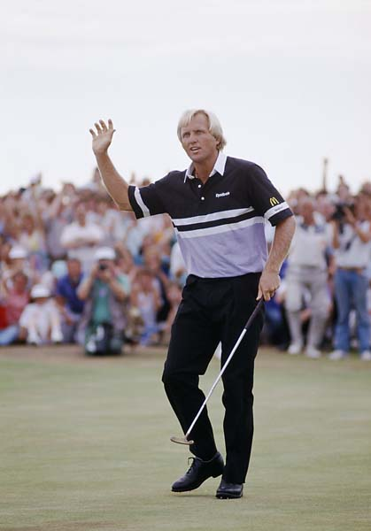 Greg Norman waves to the crowd during the 1989 British Open held at Royal Troon