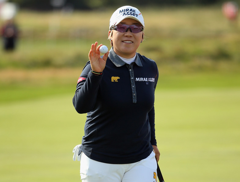 Jiyai Shin made six birdies and an eagle Saturday to build a five-shot lead after two rounds. Since play was canceled Friday due to high winds, the third and fourth rounds will be played on Sunday.