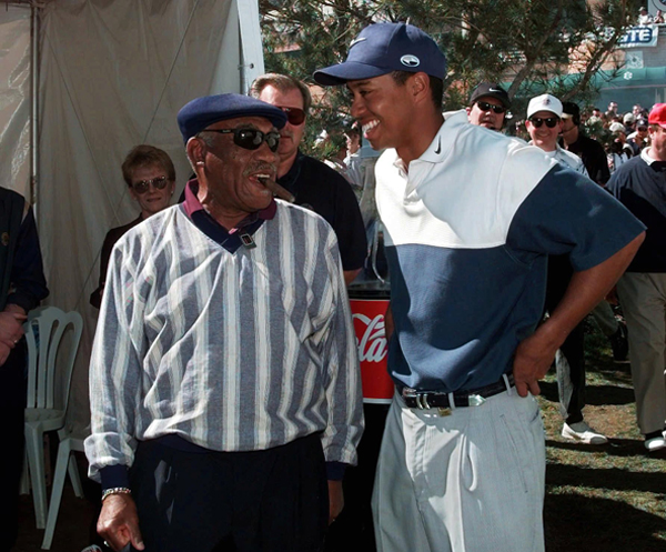 "Tiger Woods and Sifford talked at the Nissan Open in 1998. Sifford said recently of Woods, ""He's a great young player."""