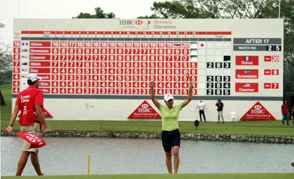 The Tour moved to Singapore where Lorena Ochoa nabbed her first win of the year at the HSBC Women's Champions. The Tour's three biggest stars -- Ochoa, Sorenstam and Creamer -- would combine to win 11 of the first 12 events of the season.