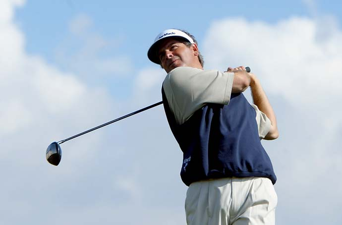Fred Couples hits a tee shot on the ninth hole during the Skins Game on Nov. 30, 2002 at the Landmark Country Club in Indio, Calif. Couples won on $3,515,000 and 77 skins in 11 Skins Game appearances.