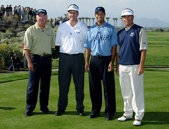 Mark O'Meara, Phil Mickelson, Tiger Woods and Fred Couples pose for a portrait prior to the start of the Skins Game on Nov. 30, 2002 at the Landmark Country Club in Indio, Calif.