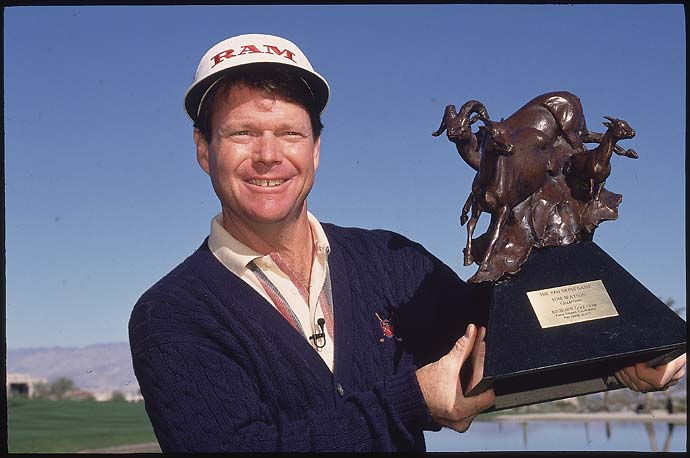 Tom Watson celebrates his win in the 1994 Skins Game.
