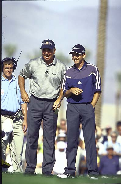 Mark O'Meara with Sergio Garcia during the 1999 Skins Game.