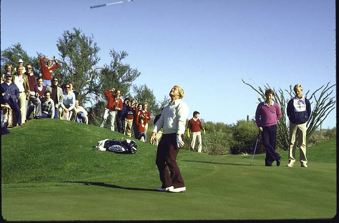 Jack Nicklaus tosses his putter in air after winning $240,000  the event's title at the 1984 Skins Game when he sank a 10-foot putt on the final green