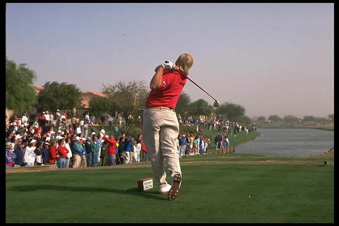 Now that's a turn! John Daly pounds a drive at the 1991 Skins Game.