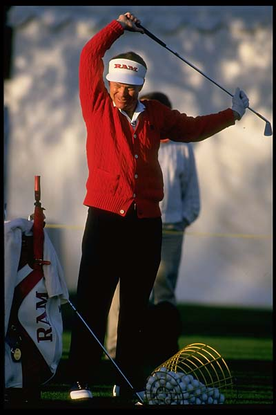 Tom Watson stetches at the 1995 Skins Game at Big Horn in Palm Springs, Calif.