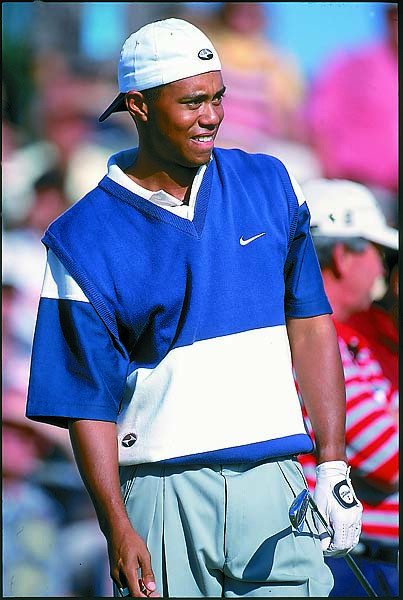 Tiger Woods in action during the first round of the 1997 Skins Game in Palm Springs, Calif.