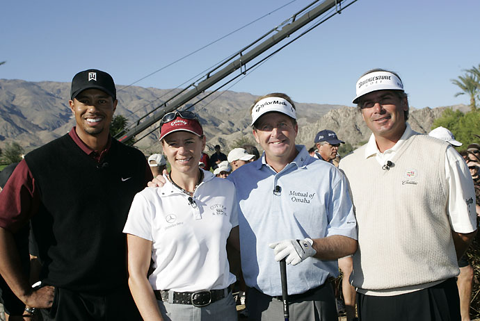 Tiger Woods, Annika Sorenstam, Fred Funk and Fred Couples before the final day of the 2005 Merrill Lynch Skins Game at Trilogy Golf Club in La Quinta, Calif. Funk won the tournament with 12 skins worth $925,000.