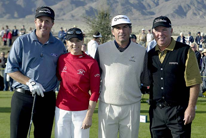 Phil Mickelson, Annika Sorenstam, Fred Couples and Mark O'Meara pose for a portrait prior to the start of the Skins Game on Nov. 30, 2003, at the Trilogy Golf Club in La Quinta, Calif