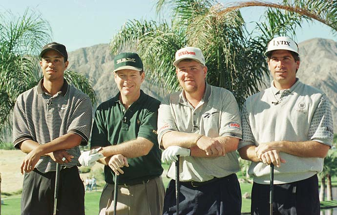 Tiger Woods, Tom Watson, John Daly and Fred Couples prior to tee off for the 1996 Skins Game at Rancho La Quinta Country Club in La Quinta, Calif.