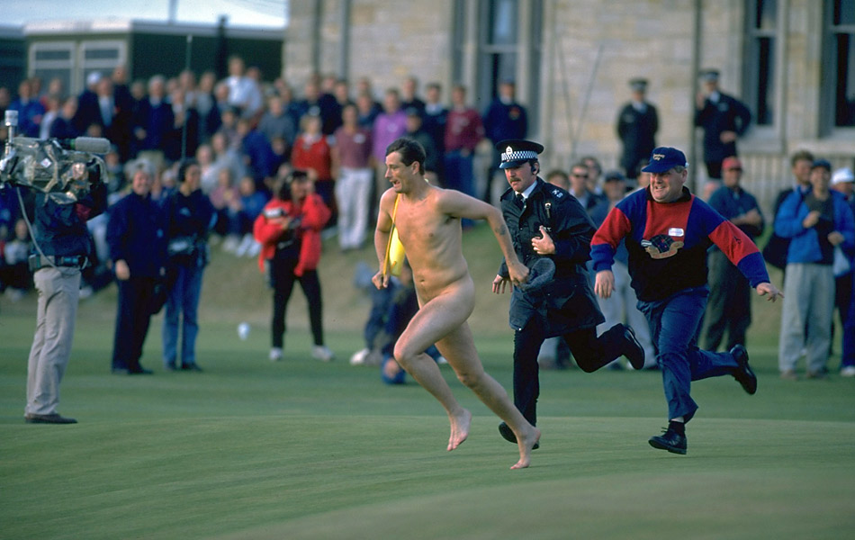 "1995 British Open at St. Andrews: ""The police were laughing their heads off as they chased me around the green and down the fairway. When I was arrested, the police were laughing so much they could hardly ask me questions. It was fantastic,"" Roberts said of his pro-golf debut.Our inspiration for this gallery is Golf Magazine's interview with Mark Roberts, the most famous streaker in Open history."