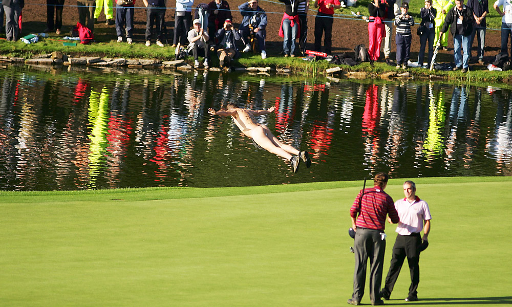 2006 Ryder Cup at the K Club: Streakers are not limited to British Open appearances. In 2006 during the Ryder Cup, a streaker dove into the water on the 18th green as Paul McGinley and J.J. Henry finished their match.