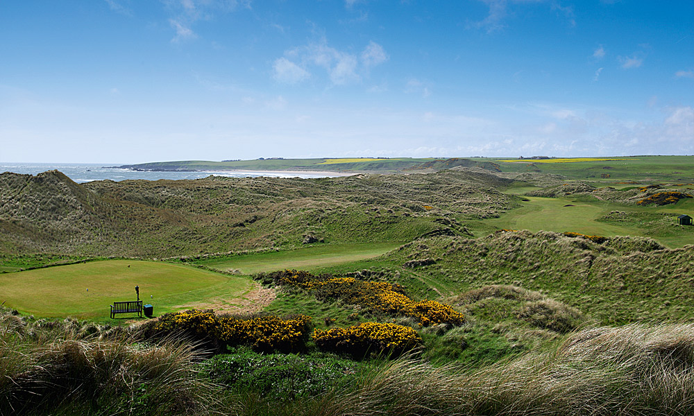 "Cruden Bay Golf Club 6th (par 5, 504 yards)                     LOCAL KNOWLEDGE: ""The second shot (if taking the green on) is a strike into the wilderness, cutting the corner, blind over high dunes to a fast, raised green with a flat-faced club."" - Robbie Stewart, head professional"