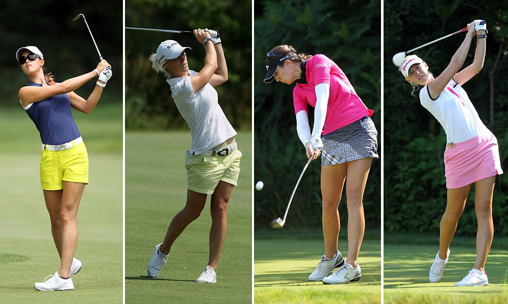 2. Bare Legs and Short-Shorts                     Women, of course, have legs. (Men do, too, we suppose, but we never get to see them on Tour; it's like illegal or something.) Leggy looks abounded at the Women's Open, from left: Michelle Wie, Melisssa Reid, Sandra Gal, and Jessica Korda.