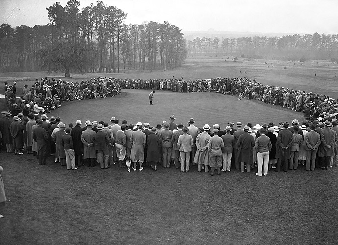 "1934: Augusta hosts the first ""Augusta National Invitational Tournament."" With the goal to become golf's most enjoyable event for players and fans, it is contested over four days, Thursday to Sunday, instead of the customary three days, with a 36-hole Saturday finale. Co-founder Bobby Jones (pictured) plays in the inaugural event."