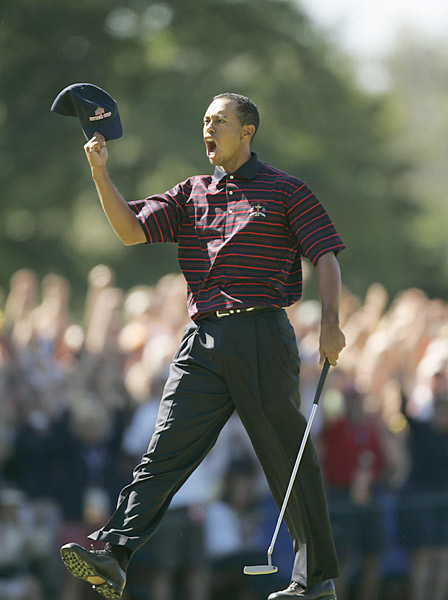 2004 Ryder Cup at Oakland Hills                       Woods went 2-3 as the U.S. was embarrassed by the Euros 18.5-9.5. Two of his losses came when paired with Phil Mickelson, an experiment that would not be repeated in future competitions.