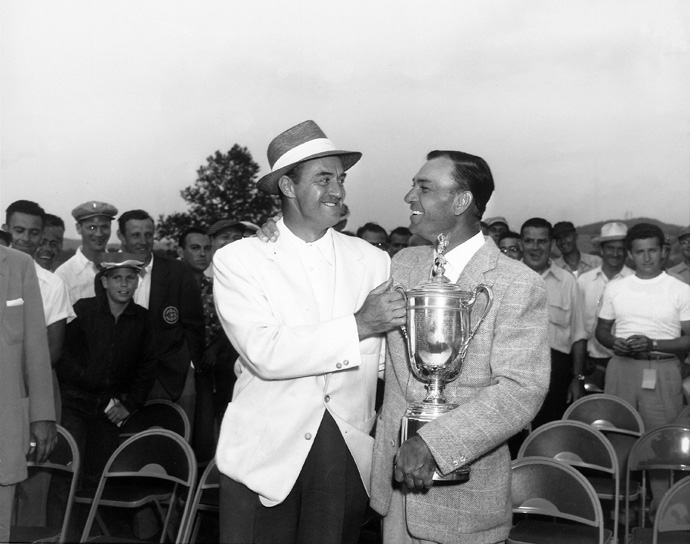 Sam Snead-Ben Hogan Playoff at the 1950 L.A. Open                     Just walking the course would have been comeback enough. But Ben Hogan, just a year after a near-fatal car accident, had grander plans. Firing three consecutive 69s, Hogan appeared poised to win, until Snead closed with back-to-back birdies to force an 18-hole playoff, which was held a week later to accommodate the Crosby Clambake at Pebble Beach. Snead won the dramatic one-round battle, but Hogan's heroics foreshadow what transpired at Merion a few months later: the Hawk's dramatic triumph at the U.S. Open.