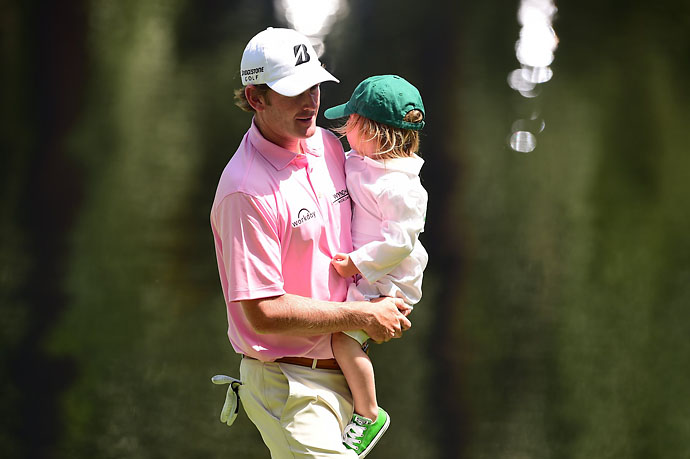 Brandt Snedeker carried one of his caddies at the Par 3 Contest on Wednesday.