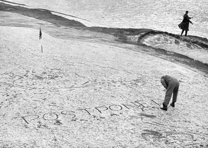 "Snow Delay in 1962                       	Back then, it was known as The Crosby Clambake. But it felt more like Christmas in northern Canada in 1962 when a snow squall descended on the Monterey Peninsula, blanketing the golf course and postponing the start of the final round. Using the delay to burnish his reputation as the Tour's best stand-up comic, Jimmy Demaret quipped: ""I know I got loaded last night, but how the hell did I end up in Squaw Valley?"""