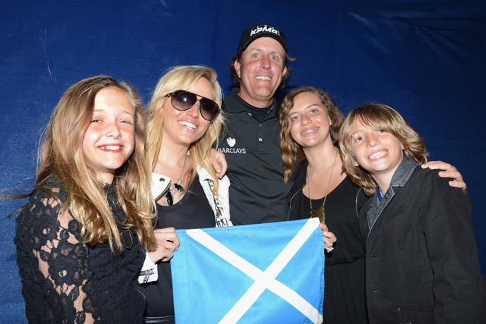 Phil Mickelson celebrates his Scottish Open win Sunday with his wife Amy and children Evan, Amanda and Sophia at Castle Stuart Golf Links.
