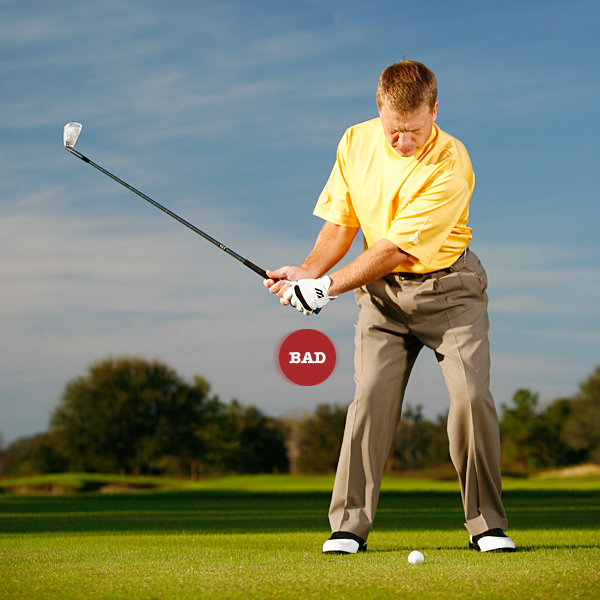 Key 1: Create leverage                     STOP ... picking the club up in your takeaway without                     bracing your right leg.