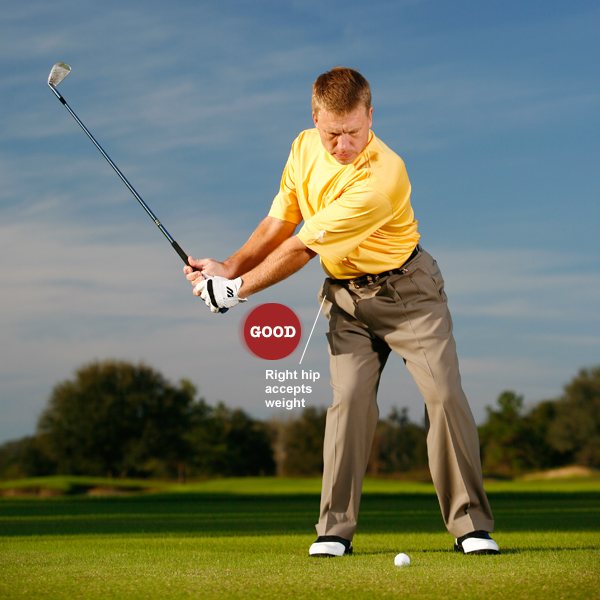 Key 1: Create leverage                     START ... pushing down on the grip with your right palm                     to leverage the club up. Brace your right leg so it can                     accept the transfer of weight to your right side during                     your backswing.
