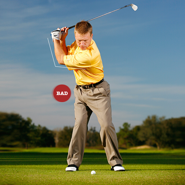 Key 2: Stretch it out                                                               STOP ... lifting the club to the top by bending your left                     elbow. Lifting destroys swing width and coil.