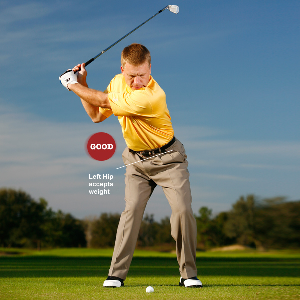 Key 3: Shift forward                     START ... your downswing by shifting weight into your                     left hip. Feel like you're funneling all of your weight                     into the ground through your left heel. This will pull                     your club down instead of across and create lag power.