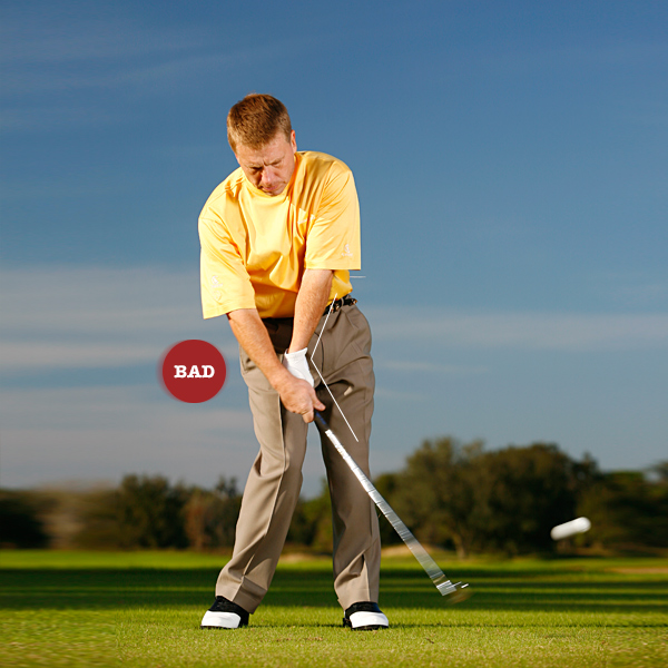 Key 4: Set your brace                     STOP ... flipping the clubhead at the ball with your wrists,                     a move that results in fat, scooped or weak shots.