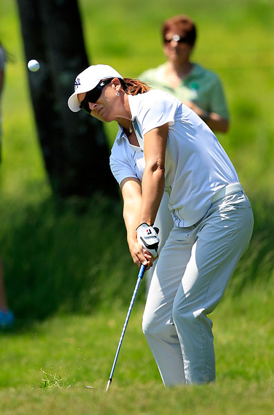 Sophie Gustafson was defeated, 3 and 1, by Jodi Ewart.