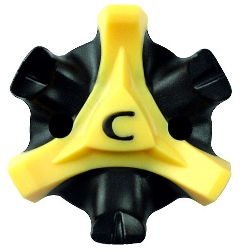 "CHAMP spikes has improved its popular line of Stinger spikes for 2008. The yellow traction legs are thicker to improve stability and comfort, and to reduce clogging. The Stingers can also tell you when it's time to change them — the black ""C"" will turn solid black when the spike is worn out."