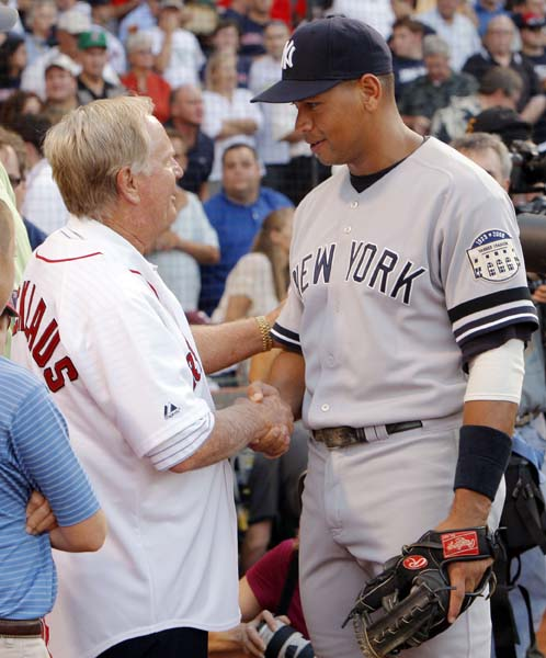 Jack Nicklaus: BaseballNicklaus, seen here talking with Alex Rodriguez before throwing the first pitch at Fenway Park in July 2008, was a catcher growing up. Nicklaus might have been good enough to make baseball his career, he once said, but he didn't like having to wait around for the other players to show up to play.