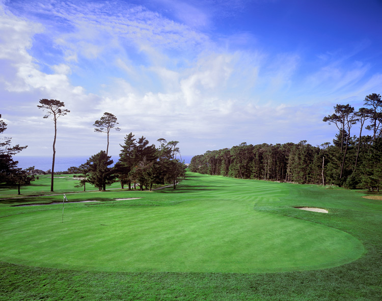 17. 6th at Spyglass Hill -- Par 4, 446 yards -- Pebble Beach, Calif.                       When the Pebble Beach Pro-am rolls around, no course in the rota plays harder than Spyglass, and no hole there plays harder than the sixth, which leads you from the coastal dunes straight up hill toward the Del Monte Forest. Fit your drive left of the fairway bunker, then aim for an approach below the pin. Nothing good happens from behind the sloping green.