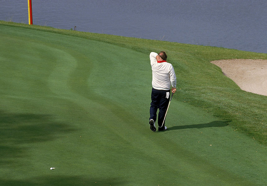 Craig Stadler: 1985 Ryder Cup                       Perhaps the turning point of the 1985 Ryder Cup at the Belfry was Craig Stadler's blowing a 14-inch putt at the final hole of the Day 2 morning four-ball. Instead of winning the match with his partner, Curtis Strange, they halved with Sandy Lyle and Bernhard Langer. Team Europe went on to win the Ryder Cup, the first time the Americans had not retained the cup since 1957.