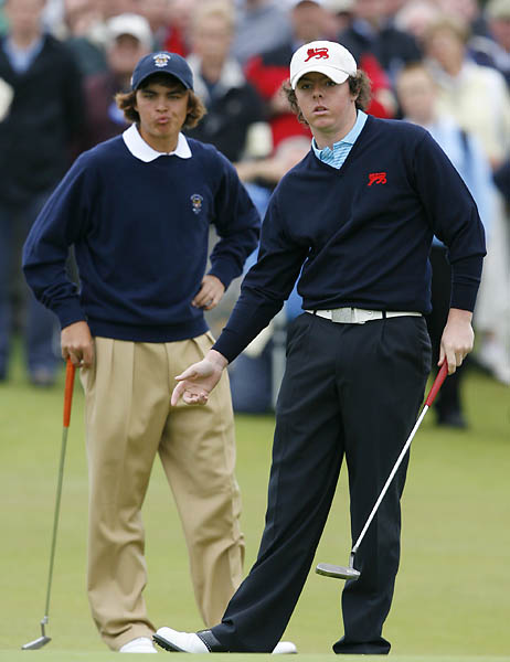 Rickie Fowler and Rory McIlroy during the final day of the 2007 Walker Cup at Royal County Down in Northern Ireland. Fowler's U.S. team beat McIlroy's UK and Ireland side 12.5 to 11.5.