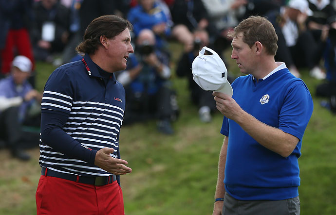 """""""Standing on the first tee playing against Phil Mickelson on Sunday was something that will live with me forever.""""                       --Stephen Gallacher on playing in the 2014 Ryder Cup."""