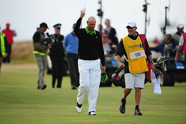 Cink acknowledged the crowd on 18 after landing his second shot firmly on the green, knowing the claret jug was his.