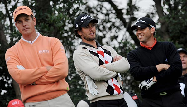 Sunday at Shanghai's HSBC Champions                     From left, Henrik Stenson, Adam Scott and Sergio Garcia were among the big-name players at the HSBC Champions. The tournament finished on Monday after heavy rains washed out Friday's round.