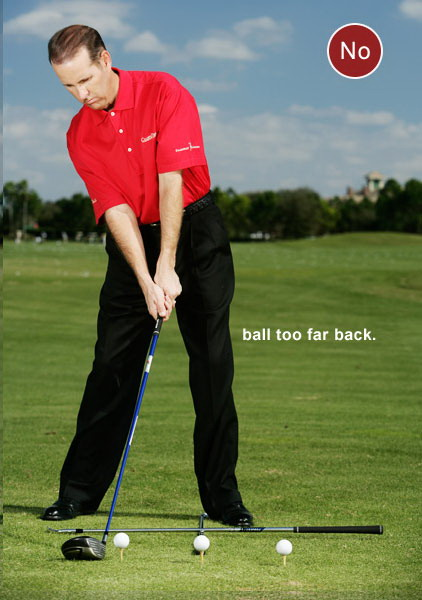 WHAT YOU'RE LOOKING FOR If the teed ball is to the right of the first shaft and/or the second shaft points to the right of your target, that ball is too far back in your stance. This simple mistake places your hands too far in front of the ball, closes your left shoulder and forces you to lean your upper body too far to the right. The result is a low inside takeaway and a very shallow downswing with the club swinging inside-to-out — the hallmark swing traits of a push or a hook.                                          If the teed ball is to the left of the first shaft and/or the second shaft points to the left of your target, the ball is too far forward in your stance. Notice how the forward ball position pulls your left shoulder open to the target line, sets your hands too far behind the ball and causes your upper body to lean to the left. From here, you'll naturally take the club away outside of the target line and swing down steeply from the top, and you'll miss your target waaaaaay right.
